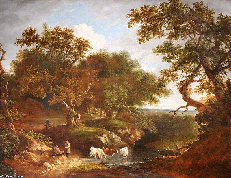 Landscape With Cattle Watering And Rustics by Thomas Barker (1769-1847, United States)