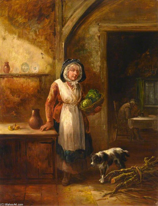 Scotswoman With Cabbages, In A Cottage Interior by Thomas Barker (1769-1847, United States)
