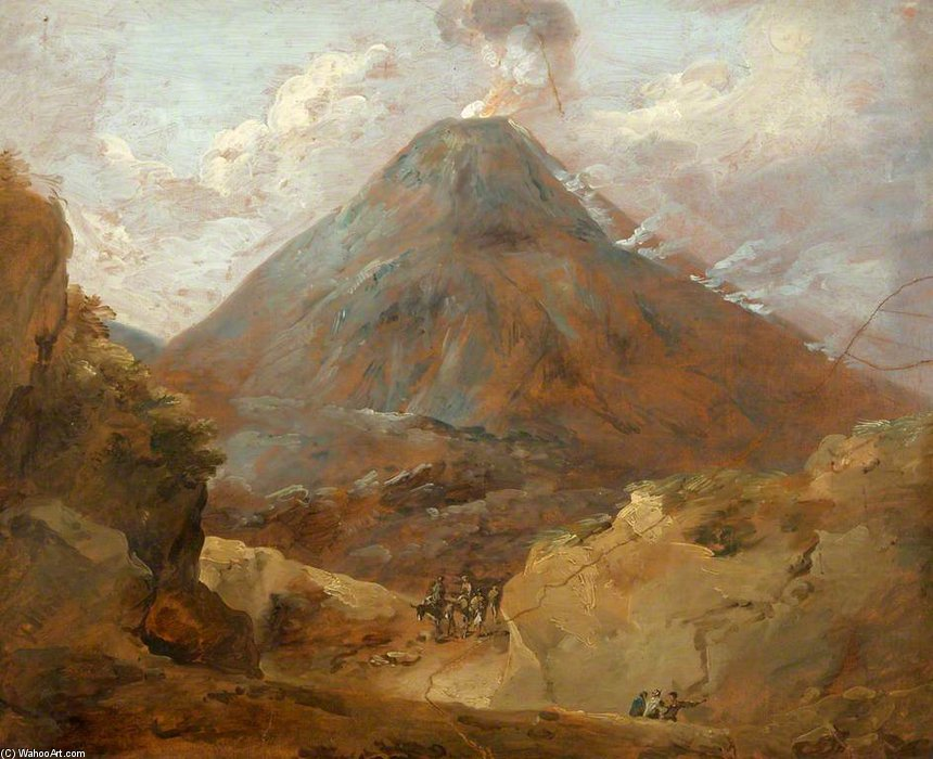 Travellers Passing Beneath A Volcano by Thomas Barker (1769-1847, United States)