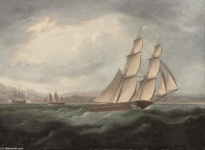 A Brig Running Under Full Sail In The Mediterranean by Thomas Buttersworth (1768-1842, United Kingdom) | Museum Art Reproductions | ArtsDot.com