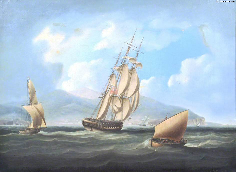 A British Frigate Approaching A Mediterranean Port by Thomas Buttersworth (1768-1842, United Kingdom)