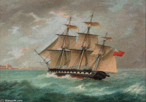 A British Frigate Approaching Port by Thomas Buttersworth (1768-1842, United Kingdom)
