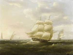 Thomas Buttersworth - A British Frigate Bowling Down..