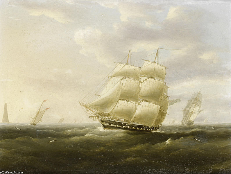 A British Frigate Bowling Down The Channel On A Breezy Day Past The Eddystone Lighthouse by Thomas Buttersworth (1768-1842, United Kingdom)