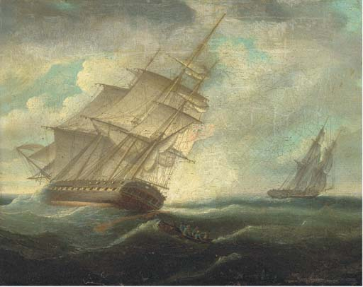 A British Frigate Heeling In The Breeze by Thomas Buttersworth (1768-1842, United Kingdom)