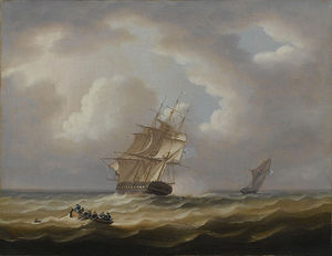 Thomas Buttersworth - A British Frigate Hove-to With..