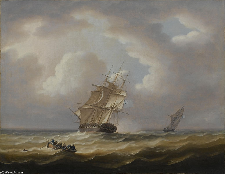 A British Frigate Hove-to With Her Jollyboat Preparing To Pluck A Man From The Sea by Thomas Buttersworth (1768-1842, United Kingdom)