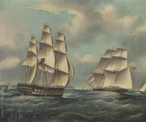 A British Two-decker Amidst Other Shipping In The Channel by Thomas Buttersworth (1768-1842, United Kingdom) | Art Reproduction | ArtsDot.com