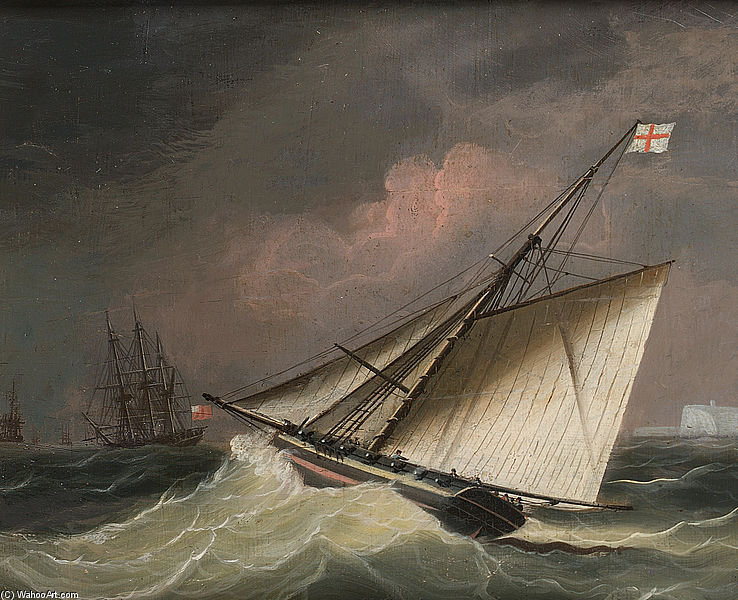 A Cutter In A Swell by Thomas Buttersworth (1768-1842, United Kingdom)