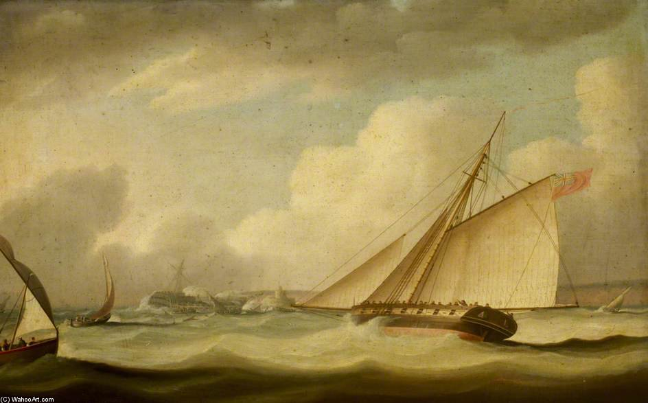 A Cutter Rescuing A Ship Aground by Thomas Buttersworth (1768-1842, United Kingdom) | Painting Copy | ArtsDot.com