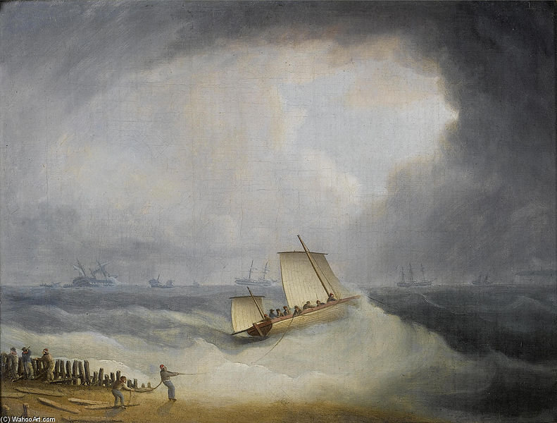 A Deal Lugger Going Off To Storm Bound Ships In The Downs by Thomas Buttersworth (1768-1842, United Kingdom)