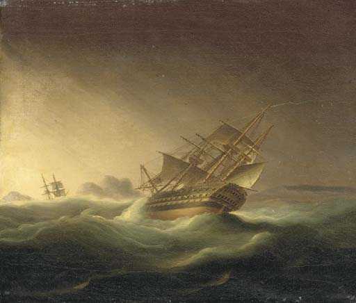A First Rater In A Gale by Thomas Buttersworth (1768-1842, United Kingdom)