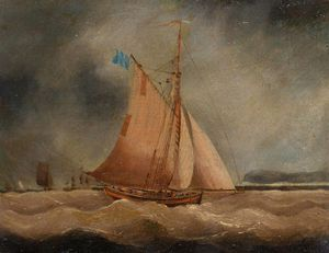 Thomas Buttersworth - A Fishing Boat Under Dark..
