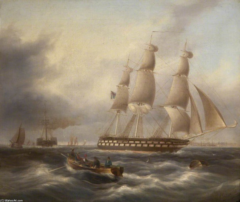 A Frigate Entering The Tagus by Thomas Buttersworth (1768-1842, United Kingdom)