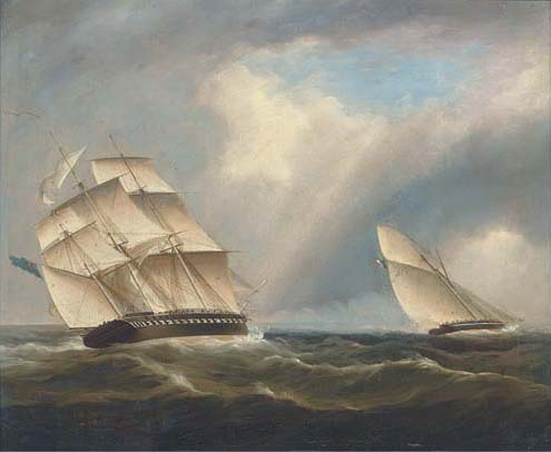 A Frigate Of The Royal Navy Pursuing A French Naval Sloop by Thomas Buttersworth (1768-1842, United Kingdom)