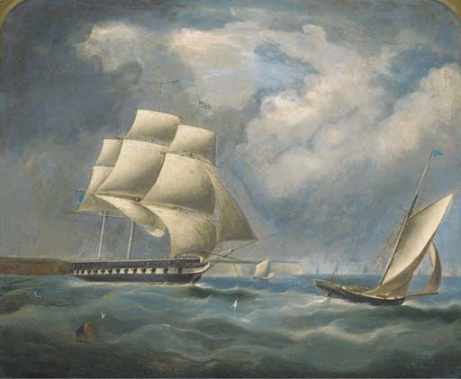 A Frigate Under Reduced Rig In The Channel by Thomas Buttersworth (1768-1842, United Kingdom)