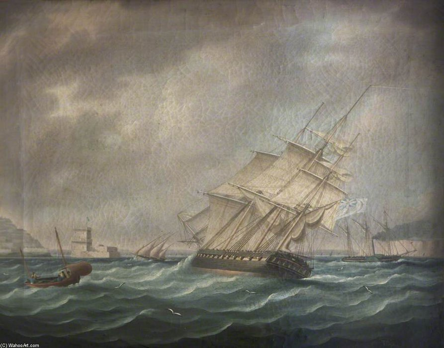 A Frigate by Thomas Buttersworth (1768-1842, United Kingdom)