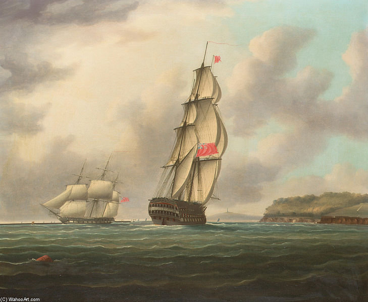A Large Ship-of-the-line Heading Into Plymouth Sound As An Outward Bound Frigate Is Passing The Breakwater by Thomas Buttersworth (1768-1842, United Kingdom)