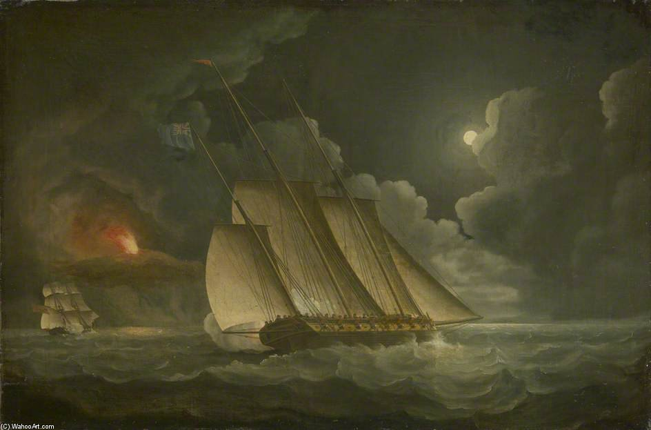 A Lugger Chased By A Revenue Or Naval Brig by Thomas Buttersworth (1768-1842, United Kingdom)