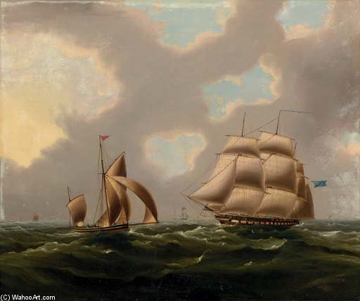 A Naval Frigate And Yawl In The Channel by Thomas Buttersworth (1768-1842, United Kingdom)
