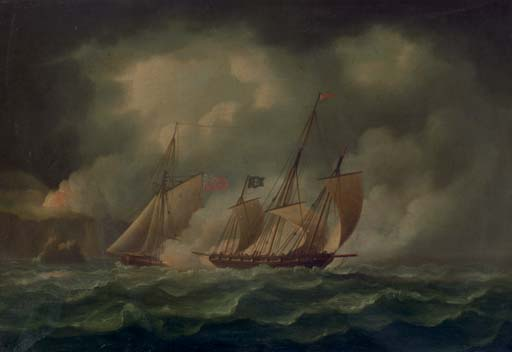 A Revenue Cutter Chasing A Pirate Lugger by Thomas Buttersworth (1768-1842, United Kingdom)