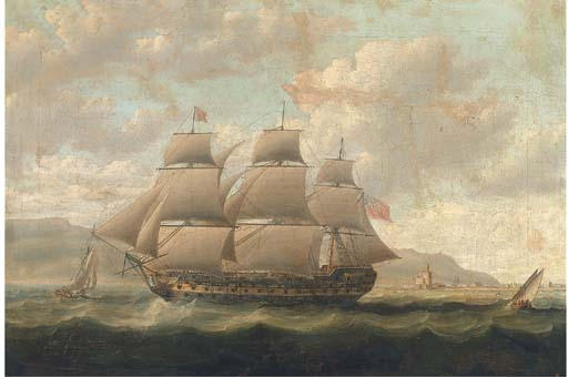 A Royal Naval Three-decker Running Past A Spanish Fortress During The Napoleonic Blockade by Thomas Buttersworth (1768-1842, United Kingdom) | Museum Quality Reproductions | ArtsDot.com
