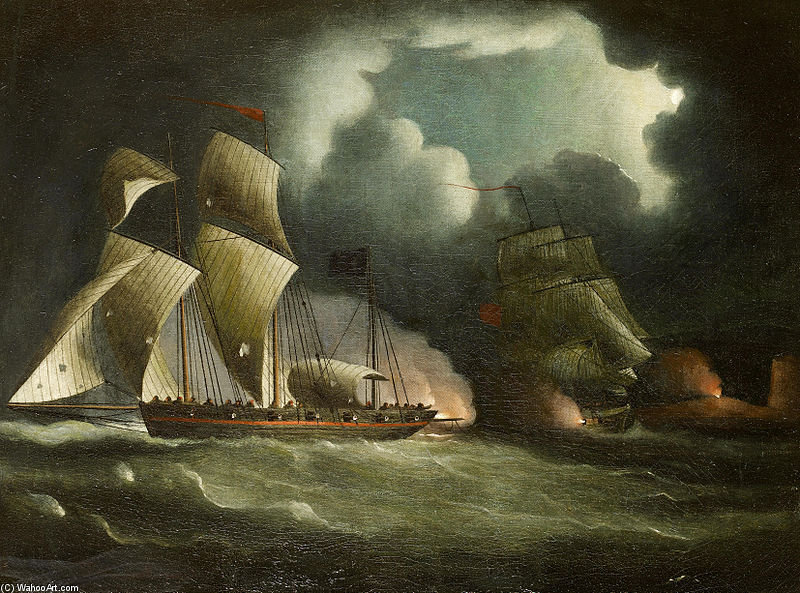A Royal Navy Brig Chasing And Engaging A Well-armed Pirate Lugger by Thomas Buttersworth (1768-1842, United Kingdom)