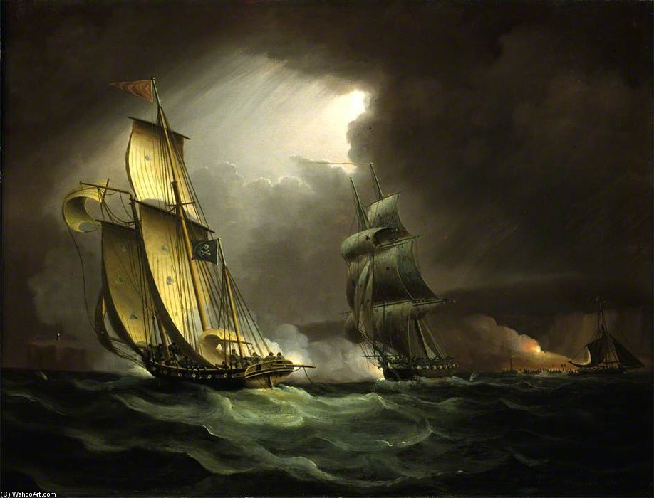 A Smuggling Lugger Chased By A Naval Brig - by Thomas Buttersworth (1768-1842, United Kingdom)