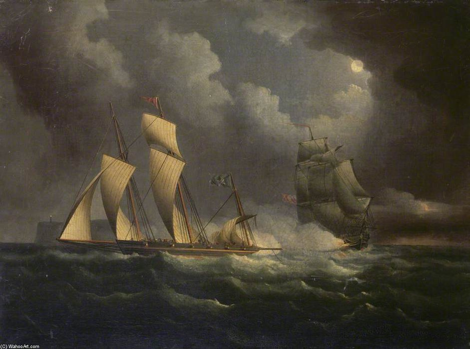 A Smuggling Lugger Chased By A Naval Brig by Thomas Buttersworth (1768-1842, United Kingdom)