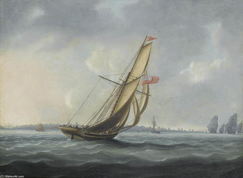 A Squadron Of The Fleet Bearing Down The Channel Off The South Coast Of England Towards An On-coming Despatch Cutter by Thomas Buttersworth (1768-1842, United Kingdom) | Museum Quality Reproductions | ArtsDot.com