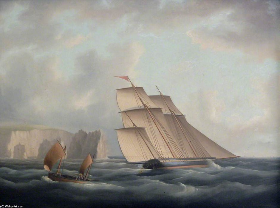 A Three-masted Lugger Off The Needles by Thomas Buttersworth (1768-1842, United Kingdom) | Oil Painting | ArtsDot.com