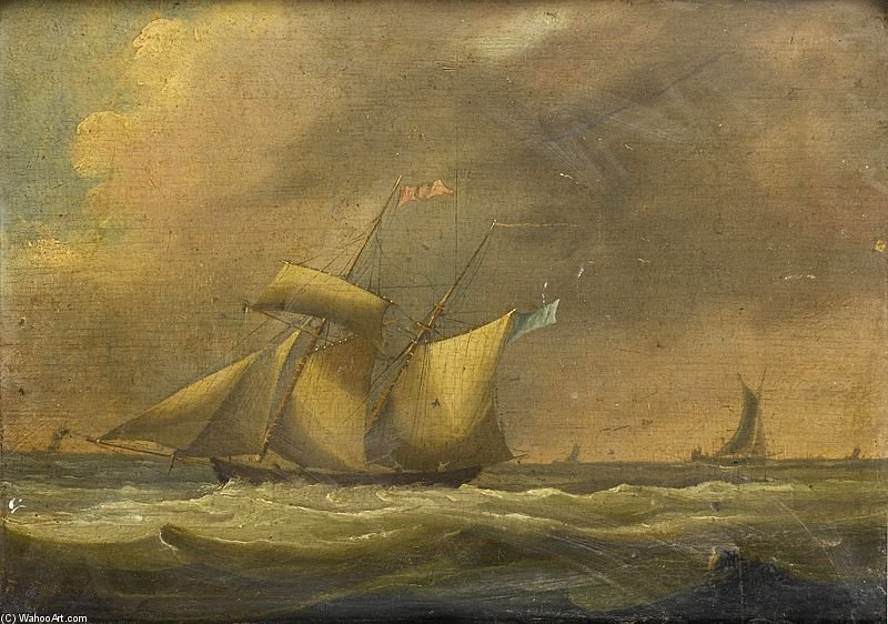 A Topsail Schooner In A Heavy Swell by Thomas Buttersworth (1768-1842, United Kingdom)