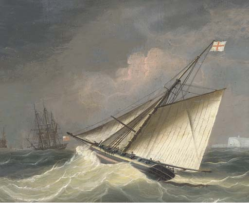 An Armed Cutter Heading Out To The Squadron Offshore by Thomas Buttersworth (1768-1842, United Kingdom)