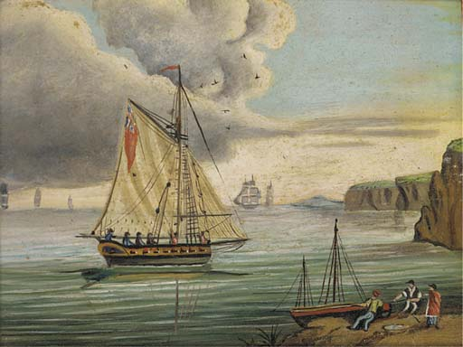 An English Frigate In The Channel; And An Armed Cutter Inshore by Thomas Buttersworth (1768-1842, United Kingdom)