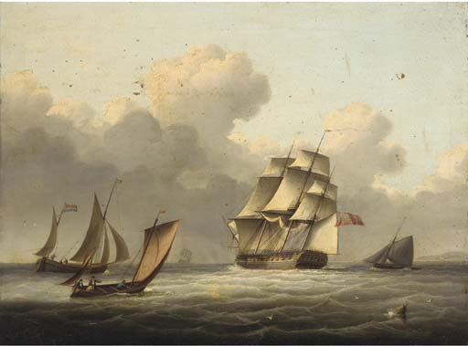 An Outward-bound Frigate Running Down The Channel by Thomas Buttersworth (1768-1842, United Kingdom)