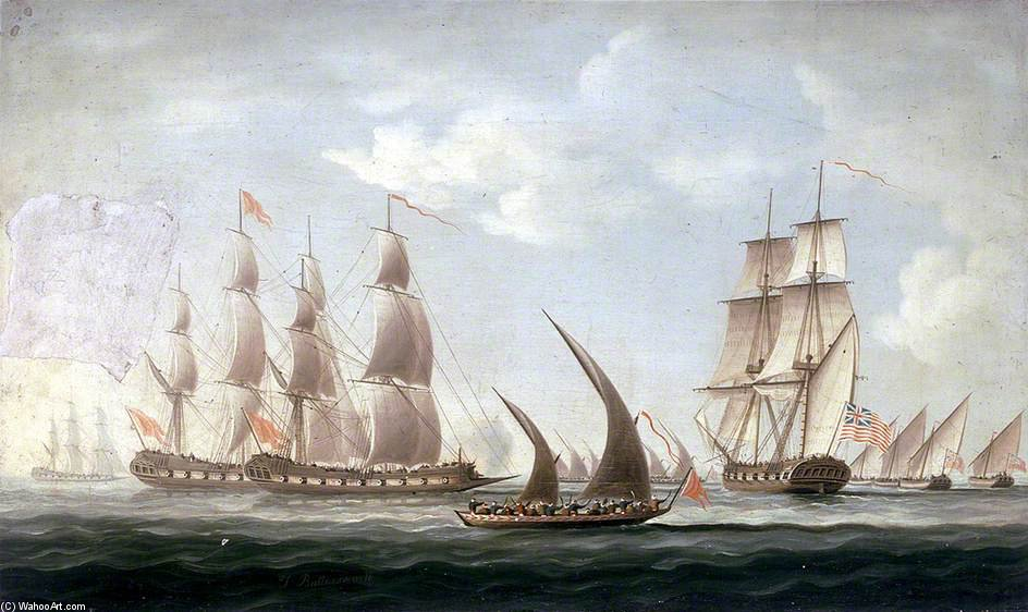 Attack On Hms 'aurora' By Pirates - by Thomas Buttersworth (1768-1842, United Kingdom)