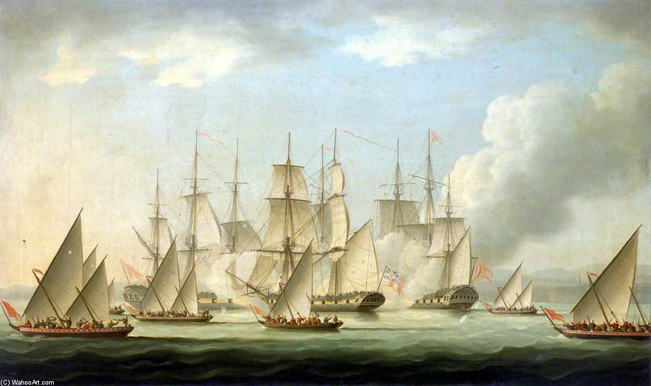 Buy Museum Art Reproductions : Attack On Hms `aurora` By Pirates by Thomas Buttersworth (1768-1842, United Kingdom) | ArtsDot.com