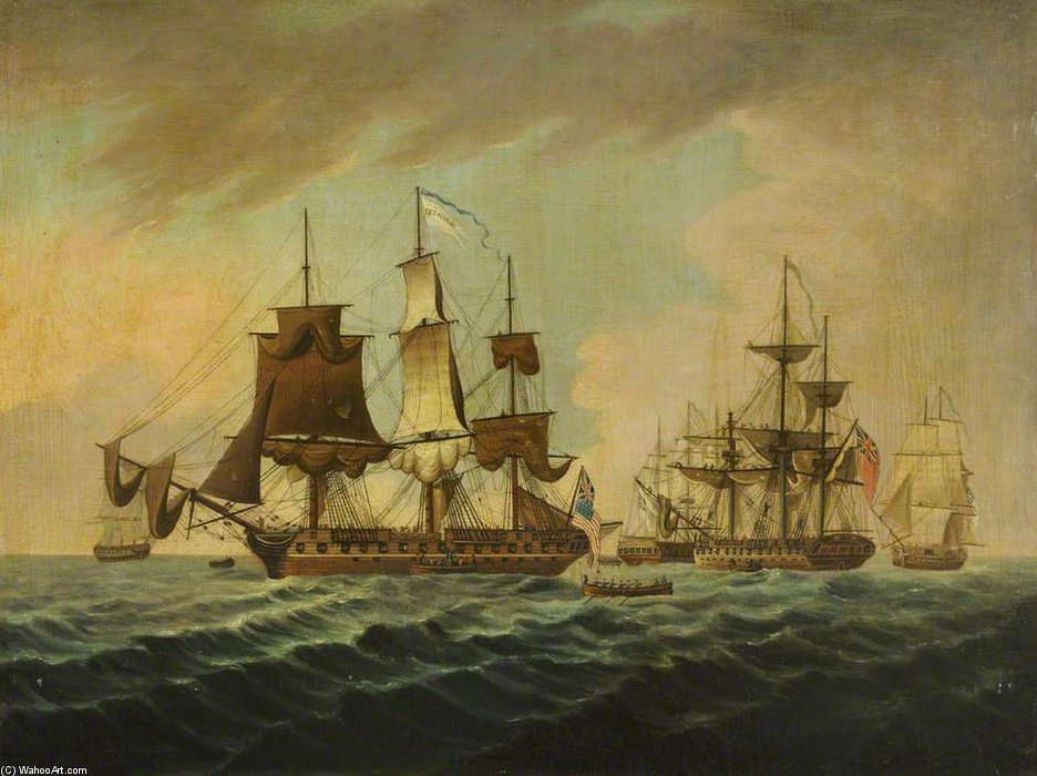 Capture Of The Uss `president` by Thomas Buttersworth (1768-1842, United Kingdom) | Painting Copy | ArtsDot.com