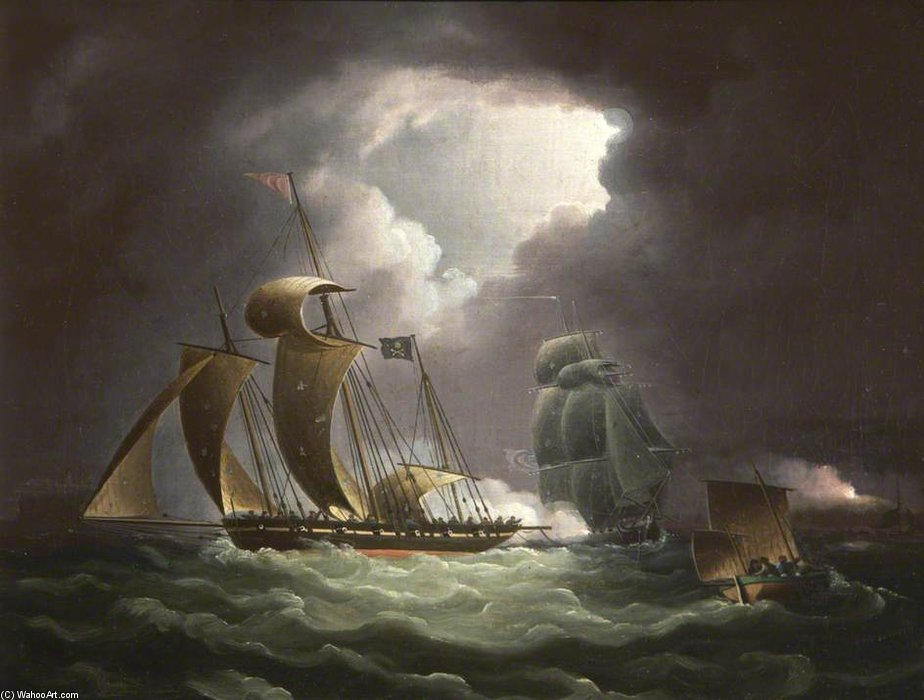 Chase Of The Pirate Lugger 'will Watch' by Thomas Buttersworth (1768-1842, United Kingdom)