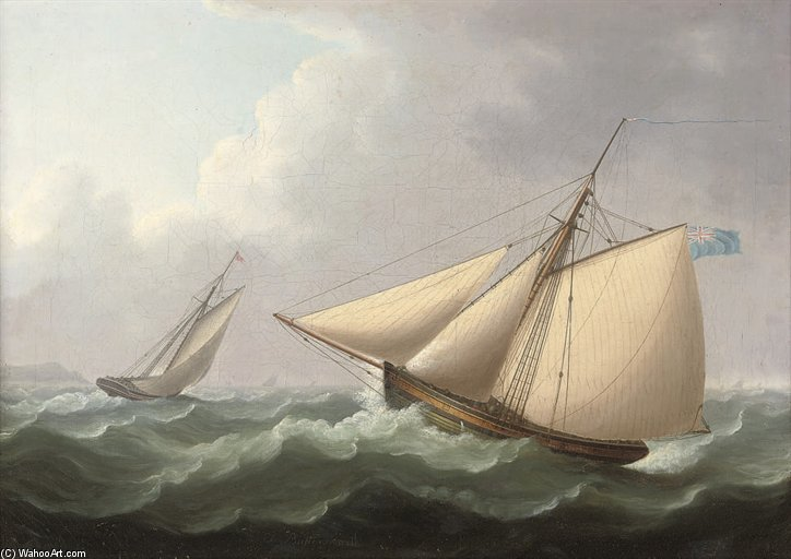 Cutters In Pursuit In A Stiff Breeze Offshore by Thomas Buttersworth (1768-1842, United Kingdom) | Art Reproduction | ArtsDot.com