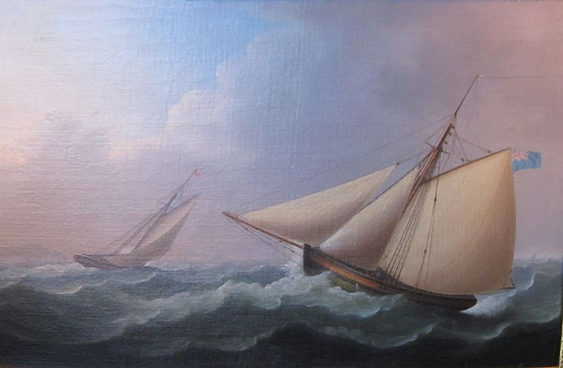 Cutters In Pursuit In A Stiff Breeze by Thomas Buttersworth (1768-1842, United Kingdom)