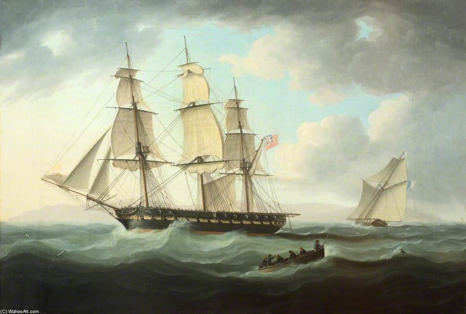 Frigate And Cutter by Thomas Buttersworth (1768-1842, United Kingdom)