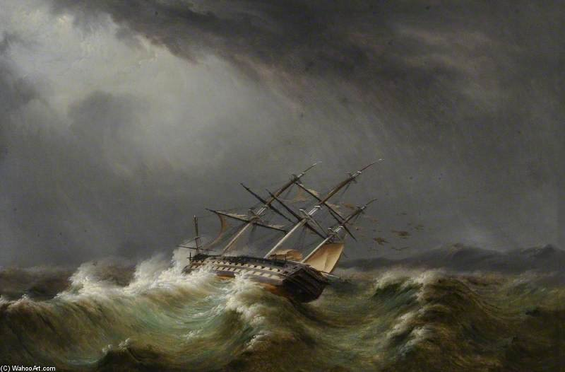 Gun Ship In A Storm by Thomas Buttersworth (1768-1842, United Kingdom)