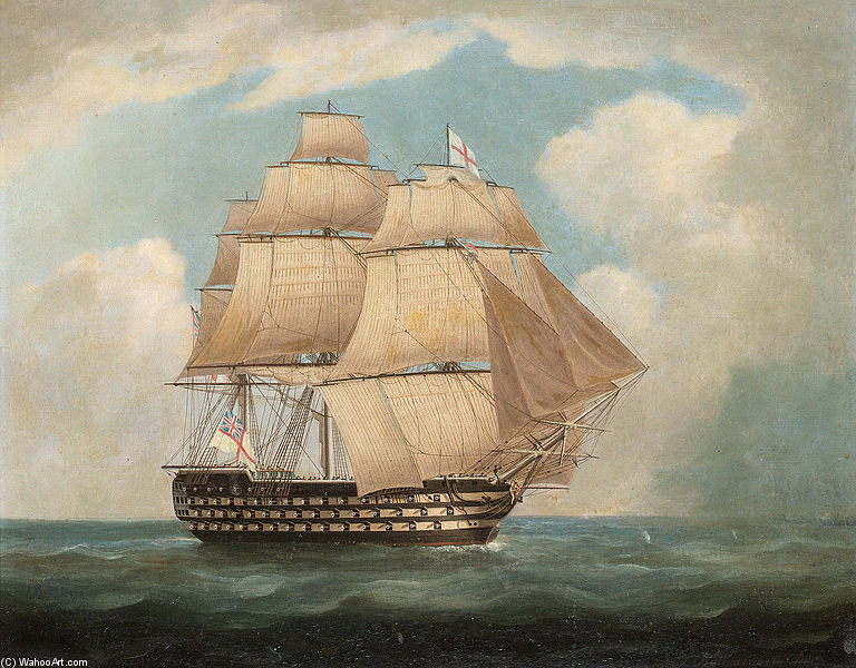 H.M.S. 'victory' In Full Sail And In A Squall - by Thomas Buttersworth (1768-1842, United Kingdom)