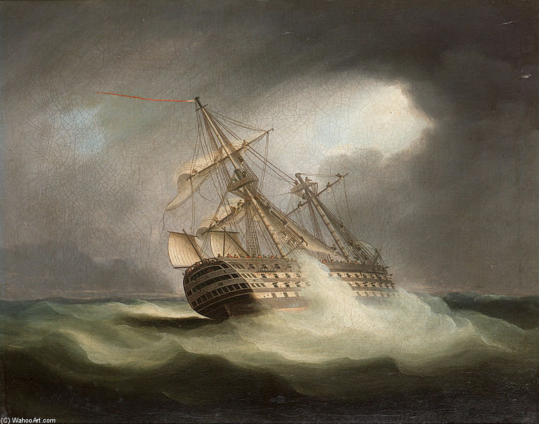 H.M.S. 'victory' In Full Sail And In A Squall by Thomas Buttersworth (1768-1842, United Kingdom)