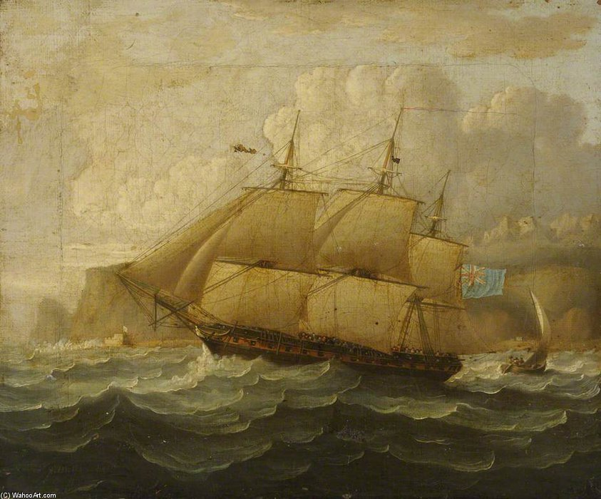 Hms 'leander' At Sea by Thomas Buttersworth (1768-1842, United Kingdom)