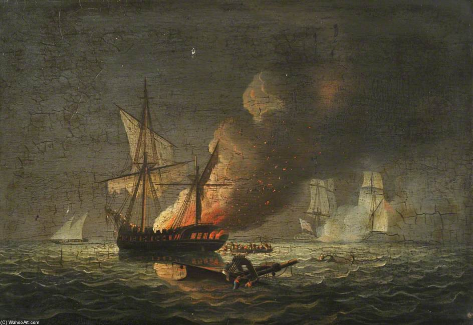 Hms 'seahorse' Capturing The 'badiri-i-zaffer' by Thomas Buttersworth (1768-1842, United Kingdom)