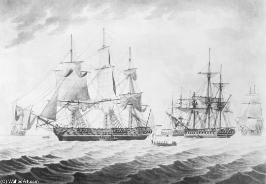 Hms Endymion With Uss President Captured by Thomas Buttersworth (1768-1842, United Kingdom)