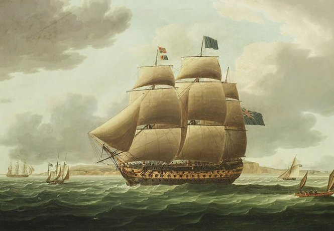 Hms Ville De Paris by Thomas Buttersworth (1768-1842, United Kingdom)
