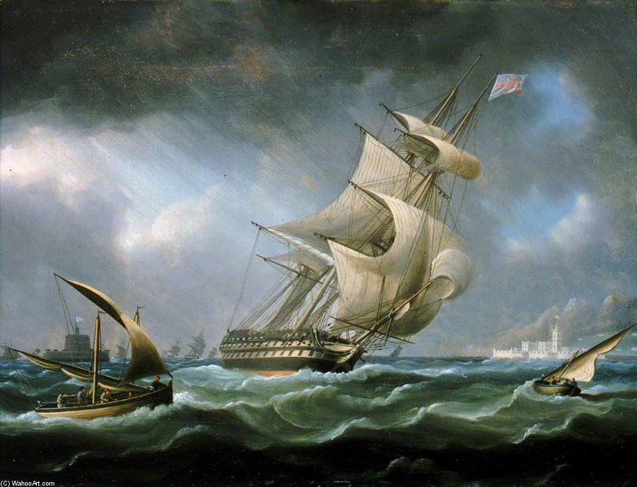 HMS 'Warrior' off the Mouth of the River Tagus by Thomas Buttersworth (1768-1842, United Kingdom)